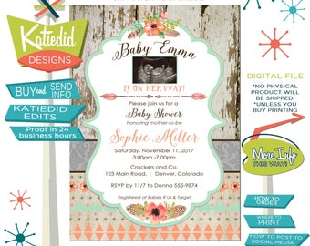 ultrasound photo couples baby shower invitation birth announcement pregnancy tribal mint coral boho birthday picture | 1445c Katiedid Design