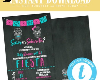 Fiesta gender reveal invitation baby shower cinco de mayo senor senorita sugar skull Papel Picado couples coed twin editable | 1461 Katiedid