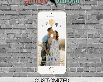 snapchat filter adventure awaits hot air balloon travel theme baby shower world map couples coed oh the places you'll go | 1466 Katiedid