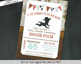 Cowboy baby shower invitation Rustic chic burlap invitation Rustic baby boy shower invitation Country Cowhide Bandana | 127 katiedid designs