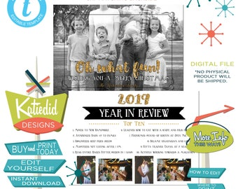 Year in Review Holiday Card, Funny Christmas Card, Photo Christmas Cards | 802 Katiedid Designs