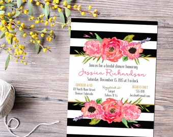 couples shower invitation bridal baby coed floral wedding stock the bar I do BBQ engagement party black white stripe | 331 katiedid designs