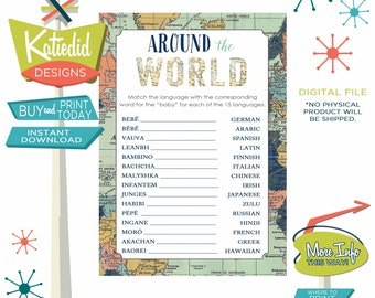 Around the World Baby Shower Game, Travel Theme Party, Baby in Different Languages | 1466 Katiedid Designs