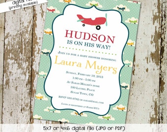 Airplane baby shower invitations Travel baby shower invitation Rustic baby boy shower invitation Boy oh Boy 1st Birthday | 1224 Katiedid