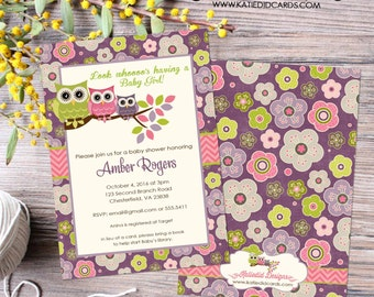owl baby shower invitation couples coed sprinkle sip see girl pink purple floral birthday baptism twins diaper wipes | 1301 Katiedid Designs