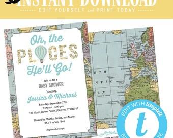 hot air balloon baby shower invitation adventure awaits boy travel theme twins couples coed gender neutral oh places you go | 12110 Katiedid
