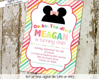 minnie mouse birthday invitation oh toodles rainbow stripe couples baby shower disney theme girl mickey first birthday | 264 Katiedid card