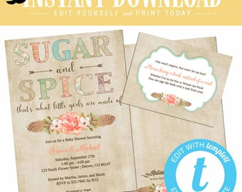 Sugar and spice baby shower invitation twin Boho chic tribal Rustic girl couple coed diaper sip see sprinkle floral editable | 1311 Katiedid