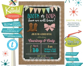 Boots or Bows Gender Reveal Invitation, Country Cowboy Western Theme, Twins Baby Shower | 1410 Katiedid