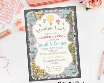 Adventure Awaits Hot air balloon baby shower invitation oh the places you'll go travel theme world map gender reveal | 1455 Katiedid Designs