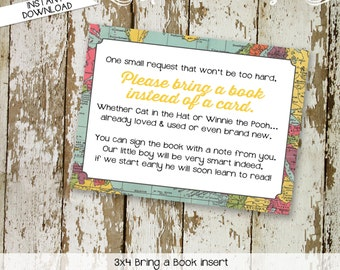 Bring a Book instead of a card enclosure card insert storybook theme library world map baby shower oh the places you'll 1294 katiedid design
