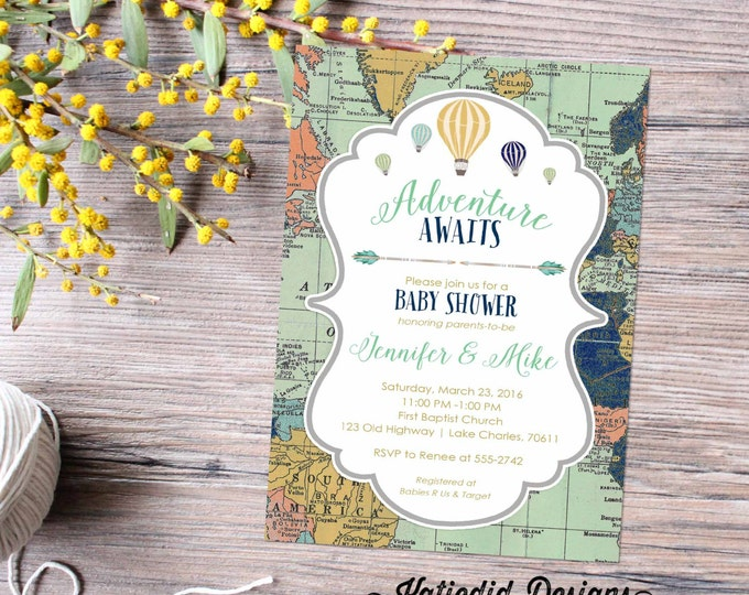 Featured listing image: Adventure awaits baby shower invitation World map Hot air balloon Travel Theme gender neutral reveal sip and see boy | 1466 Katiedid Designs
