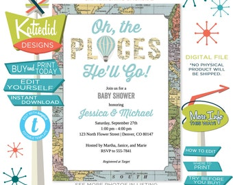 Travel Baby Shower Invitation, Oh the Places You'll Go Hot Air Balloon | 12110 Katiedid Designs