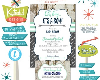 Tribal Baby Shower Invitation with Arrows, Bring a Book or Display Shower Enclosure Card Insert, mint navy gray twins | 12120 Katiedid