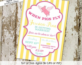 Couples shower invitation bridal when pigs fly pink yellow bachelorette funny rehearsal dinner I do BBQ engagement party gay | 321 Katiedid