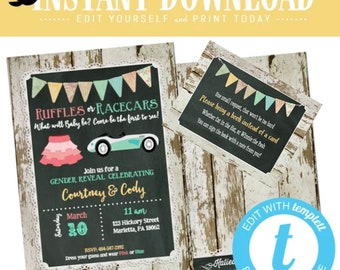 Twin Gender Reveal, Ruffles or Racecars Baby Shower Invitation, Gender Neutral Couple Shower | 1473 Katiedid Designs