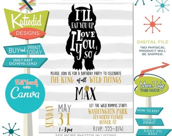 Where the wild things are invitation includes insert birthday boy one rumpus black white stripe baby shower storybook edit | 296 Katiedid