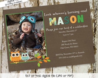Owl birthday invitation baby shower ultrasound photo pregnancy announcement picture boy couples coed diaper wipes twins | 242 Katiedid cards