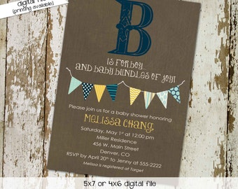 Baby boy shower invitation couples coed diaper wipes sprinkle sip see baptism navy yellow rustic bunting banner twins | 1240 Katiedid Cards