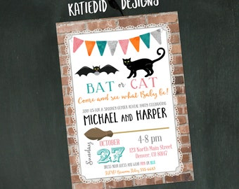 Fall Gender Reveal Invitation, Fall Baby Shower, Bat or Cat Twins Halloween, Burlap Lace | 14003 Katiedid