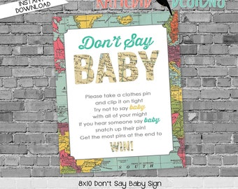 travel theme Adventure awaits baby shower game don't say baby sign world map couples coed gender reveal neutral diaper wipes | 1294 Katiedid