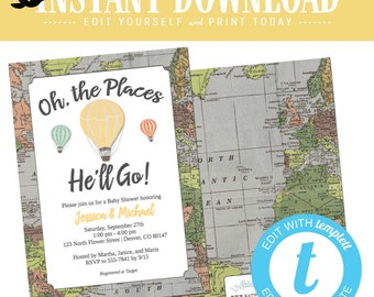 travel baby shower invitation hot air balloon adventure awaits oh places you'll go couple graduation theme birthday editable | 1243 Katiedid