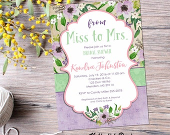 Traveling from Miss to Mrs Couples shower Invitation floral boho bridal rehearsal dinner purple mint baby girl wedding | 368 Katiedid Cards