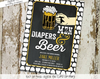 Poker gender reveal invitation diaper wipes couples baby shower pampers dad man two beer neutral chalkboard coed party | 148 Katiedid Design