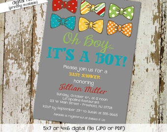 bow tie baby shower invitation little gentleman man couples coed christening baptism twins boy sprinkle sip see gay | 1207 Katiedid Designs