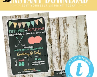 Golf gender reveal invitation putters or pompoms baby shower neutral twins diaper wipes couples chalkboard rustic editable | 1470 Katiedid