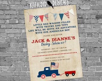 Patriotic birthday invitation retirement party vintage truck all american boy baby shower red wagon radio flyer parade July   238b Katiedid