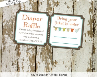 Diaper raffle ticket surprise gender reveal diaper and wipe brunch baby romper invite bodysuit jumper bunting banner 1407 Katiedid Designs