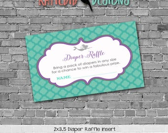 purple teal mermaid under the sea theme diaper wipe brunch co-ed baby shower Diaper raffle ticket insert enclosure card 1365 Katiedid Design