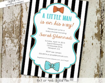 bow tie baby shower invitation little man gentleman couples coed brunch twins black white stripe sprinkle diaper wipes | 1299 Katiedid Cards