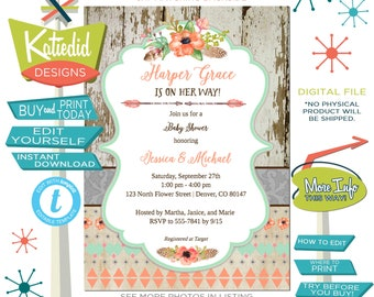 Tribal Baby Shower Invitation Gender Neutral, Couple Shower Coral Mint Green Boho with Floral, Editable | 1445 Katiedid