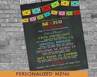 Fiesta wedding menu baby shower rehearsal dinner bridal couple coed printable chalkboard papel picado day dead cinco mayo | 301 Katiedid