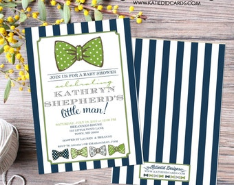 little man bow tie baby shower invitation boy navy stripe green gentleman birthday diaper wipes brunch couples retirement | 12102 Katiedid
