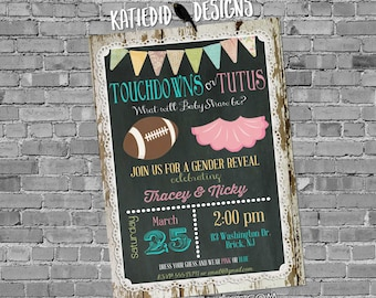 football gender reveal invitation touchdown tutu twins baby shower chalkboard wood lace rustic two moms birthday LGBT | 1431 Katiedid Design