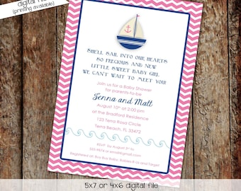 nautical baby shower invitation sailboat under the sea pink navy twins sprinkle couples coed sip see diaper wipes | 1328 Katiedid Designs
