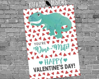 Valentine Card Download | Dinosaur Valentine Card | Child's Valentine for school | Katiedid Card