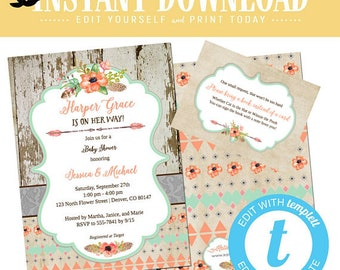 baby girl shower invitation Boho chic mint green coral floral tribal rustic twin couple coed sprinkle sip see brunch diaper | 1445 Katiedid