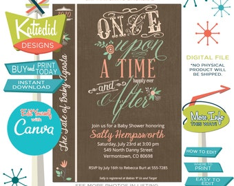 Once upon a time baby shower invitation storybook Rustic floral couples coed diaper wipes brunch happily ever after gender   1379 Katiedid