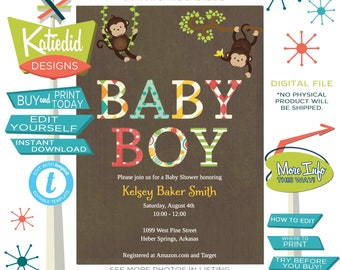 Monkey Baby Shower Invitation, Safari coed twins boy baby shower, birthday party | 121 Katiedid cards editable