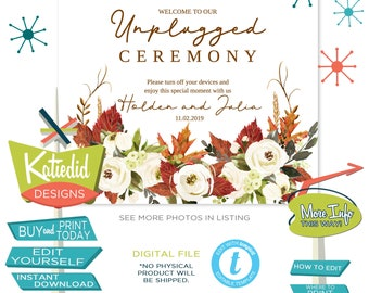 Fall Wedding Sign, Unplugged Ceremony Sign, White Roses Autumn Leaves | 003 Katiedid Designs