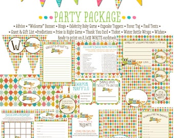 owl baby shower argyle baby boy co-ed baby shower party package banner wishes for baby cupcake toppers thank you card 158 Katiedid Designs