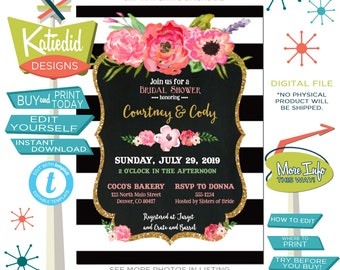 Rehearsal Dinner Invitation, Black White Stripe Floral Chalkboard, Baby Girl Shower Brunch | 363 Katiedid Designs