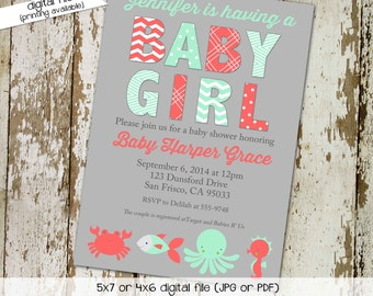 nautical baby shower invitation mint coral gray under the sea twins girl gender neutral reveal sprinkle sip see ocean | 1374 Katiedid cards