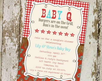 Gender reveal invitation couples baby shower coed neutral rustic BABYQ paisley gingham western cowboy country picnic |  1220 Katiedid Cards