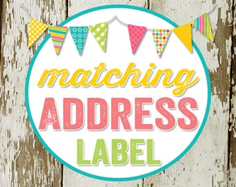 RETURN ADDRESS LABEL to match any design for baby shower invitations or party invitations, diy, digital printable katiedid designs cards