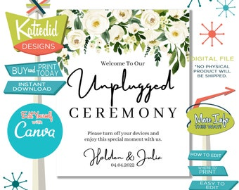 Unplugged Ceremony Sign, Wedding Sign with White Rose Flowers | 004 Katiedid Designs